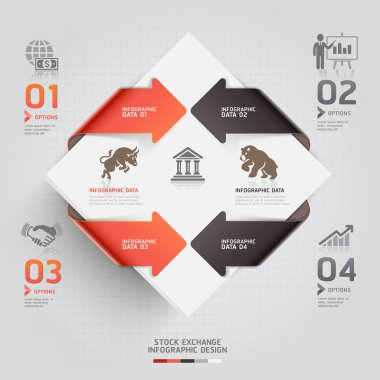 Abstract infographic business stock exchange template.