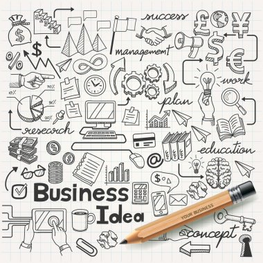 Business Idea doodles icons set. Vector illustration. stock vector