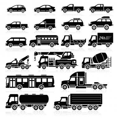Cars icons white color set. Vector illustration. stock vector