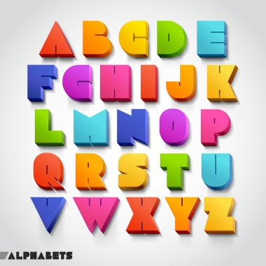 3D alphabet number colorful