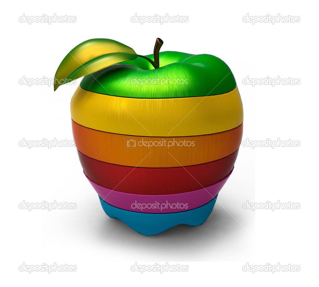 rodajas de manzana de colores mezclados — Foto de stock ...