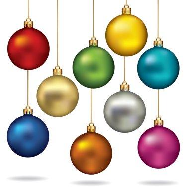Christmas balls color set. Vector illustration.