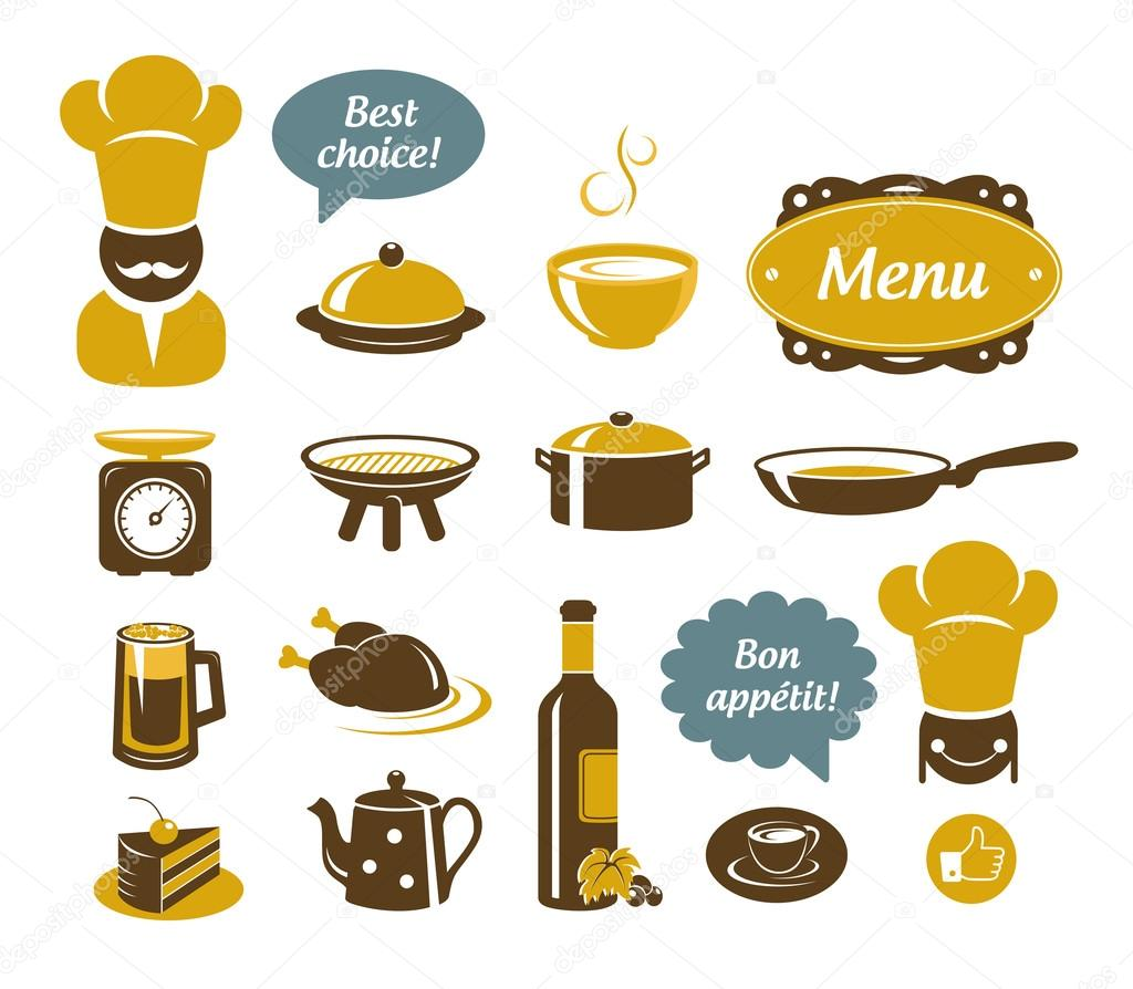 Restaurant Kitchen Illustration kitchen and restaurant icons — stock vector © teneresa #13117960