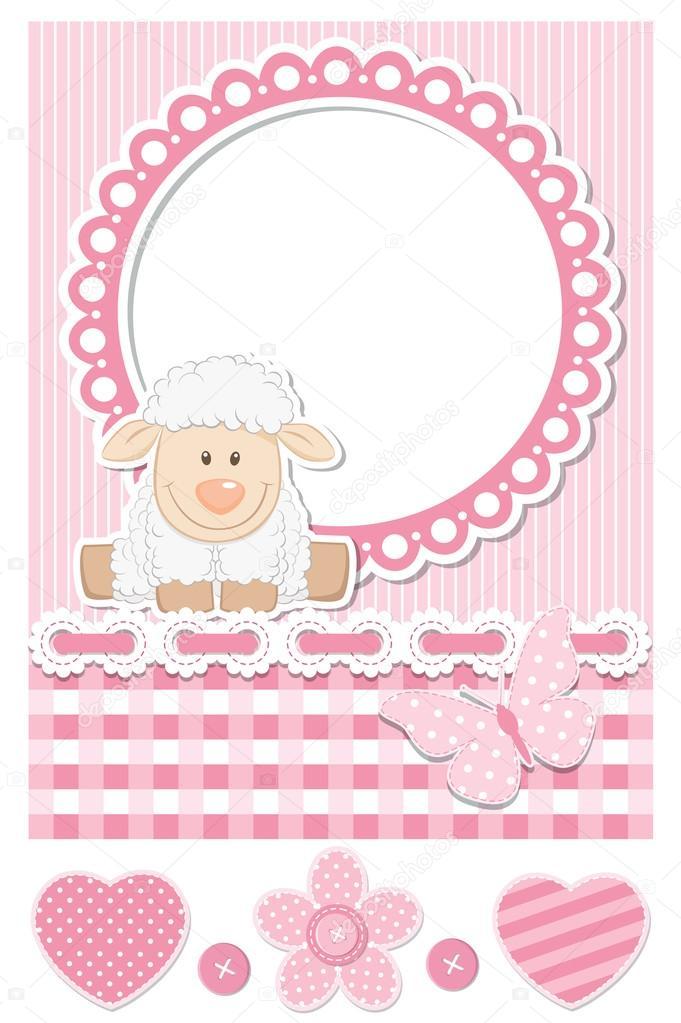 Happy baby sheep pink scrapbook set