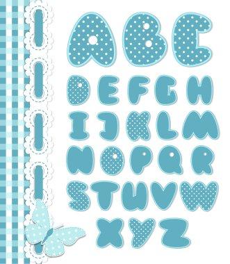 Retro scrapbook font blue color