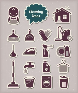 Cleaning icons paper cut style