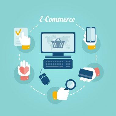 Flat design concept of online shop and e-commerce