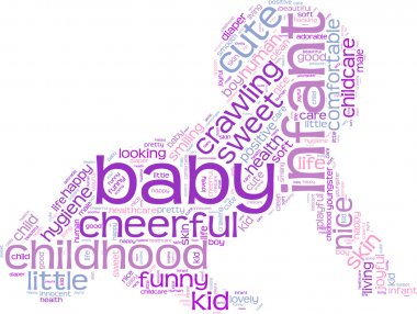 Crawling baby tag cloud illustration