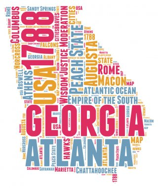 Georgia USA state map vector tag cloud illustration