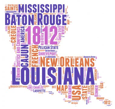 Louisiana USA state map vector tag cloud illustration