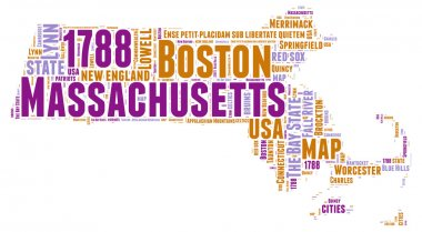 Massachusetts USA state map vector tag cloud illustration