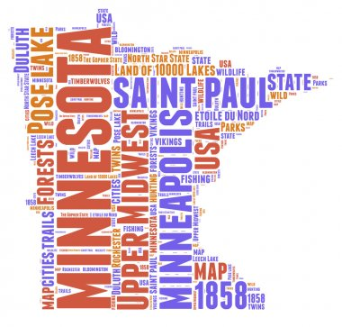 Minnesota USA state map vector tag cloud illustration