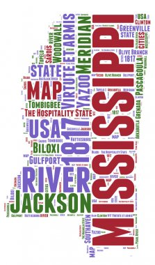 Mississippi USA state map vector tag cloud illustration