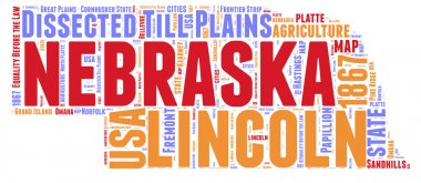 Nebraska USA state map vector tag cloud illustration