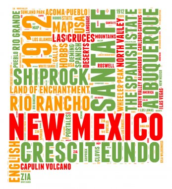 New Mexico USA state map vector tag cloud illustration