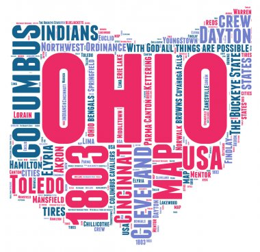Ohio USA state map vector tag cloud illustration