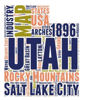 Utah Usa state tag cloud map shaped vector illustration