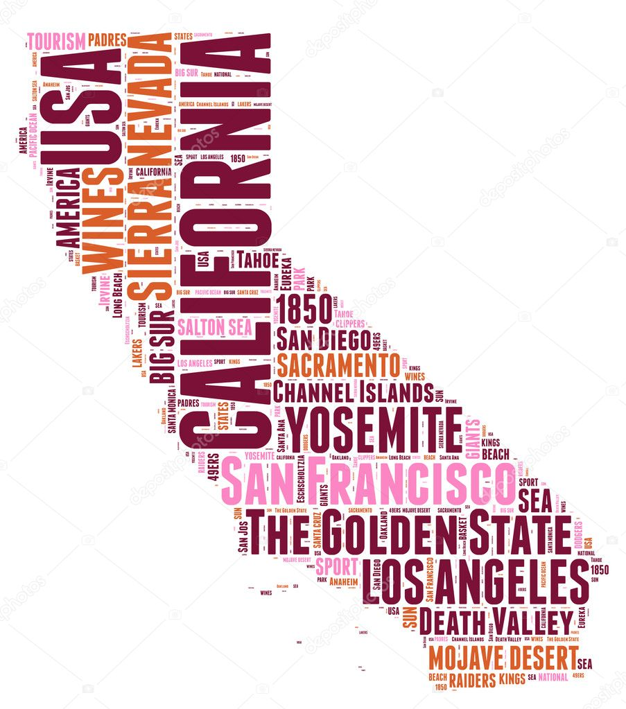 California USA State Map Vector Tag Cloud Illustration Stock - California usa map