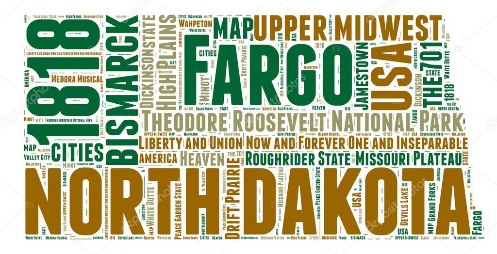North Dakota USA state map vector tag cloud illustration — Stock ...