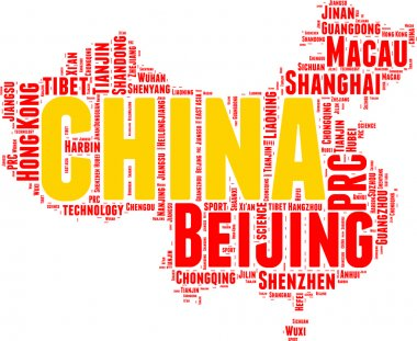 China State map vector tag cloud illustration