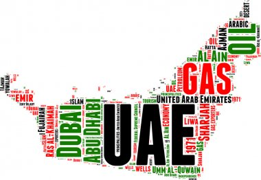 UAE vector map tag cloud illustration