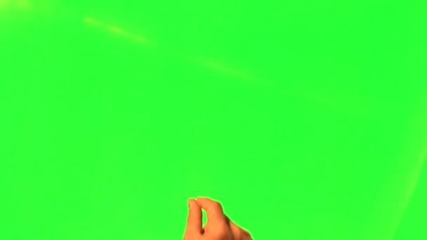 Touchscreen gesta - mužské ruky - zelená obrazovka a alfa matný