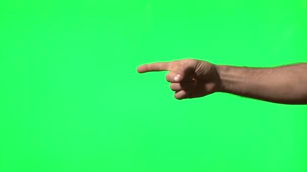 gesta mužských rukou na zelené obrazovce: prezentace, polohovací, palec nahoru, štěkat, tleskání