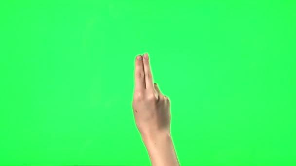 21 touchscreen gesta - ženské ruky - na zelené obrazovce