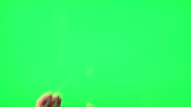 ženská gesta na zelené obrazovce