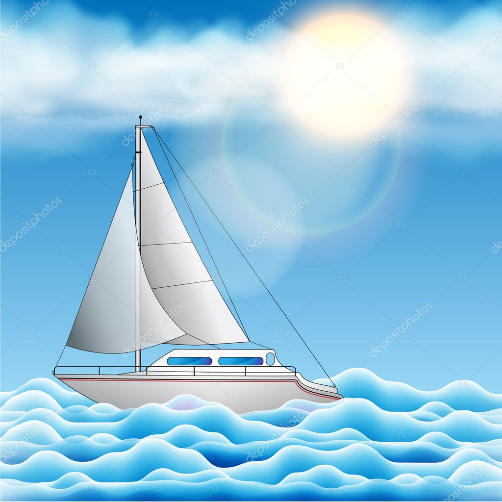 Vector Illustration of a Sailing Yacht Floating on the Sea