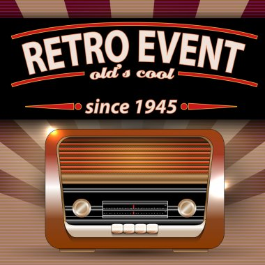 Retro Party Flyer with Vintage Radio