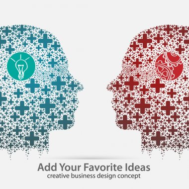 Human heads thinking and communicate, concept