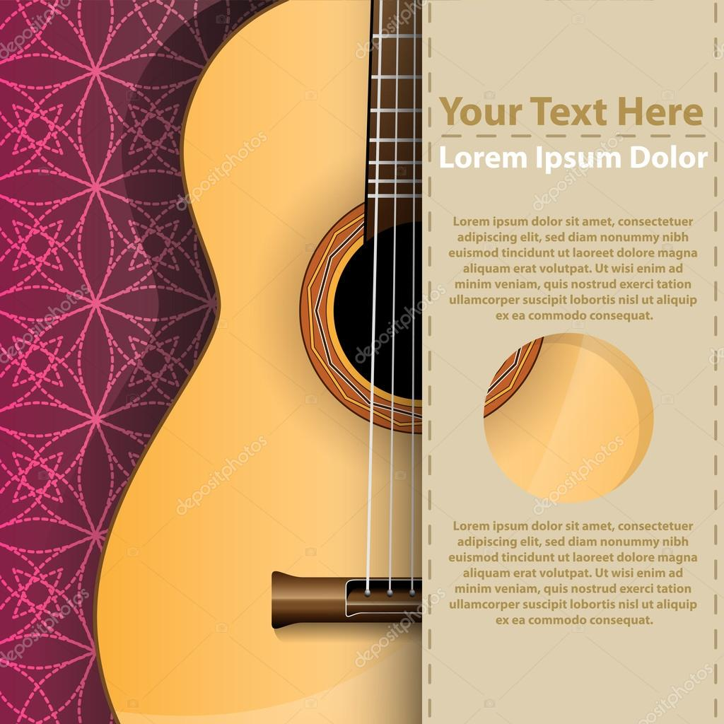 Abstract music background with guitar and copy-space