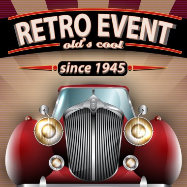 Vector Retro Party Flyer Illustration with Vintage Car clip art vector