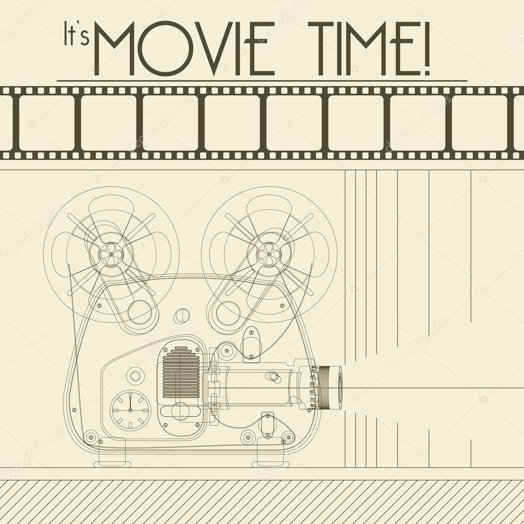 Vector Retro movie poster with Vintage Movie Projector background illustration stock vector