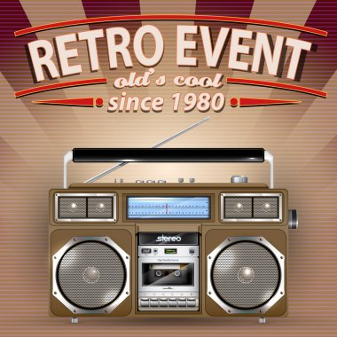 Retro Party Brochure with Vintage Stereo Radio Cassette Recorder