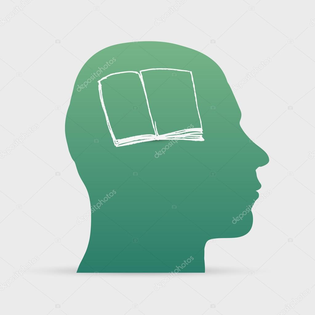 Aufgeschlagenes buch gezeichnet  Kopf mit Hand gezeichnet offenes Buch-Symbol — Stockvektor #42727171