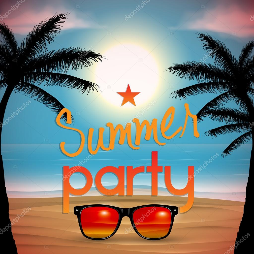 Vector summer beach party invitation design with sunglasses
