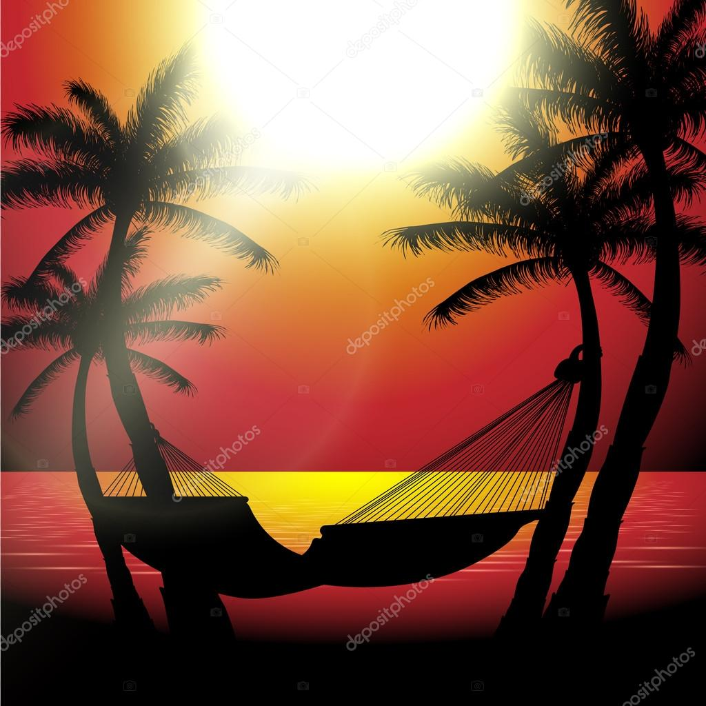 Vector summer sunset view in beach with palm trees and hammock