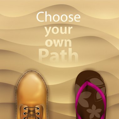 Vector Beach sand background with stylish boot and flip flop