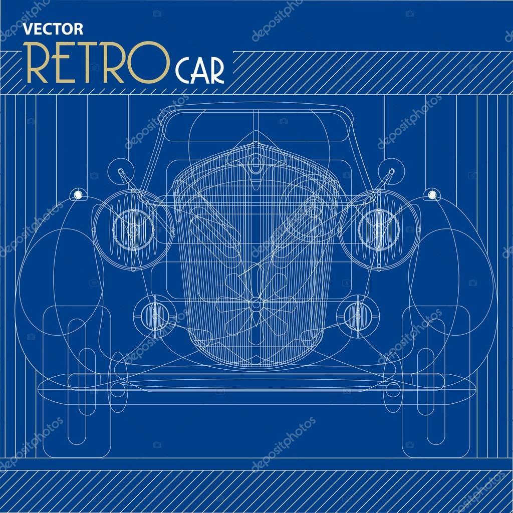 Vektor-retro Auto-Blaupause-illustration — Stockvektor © jugulator ...