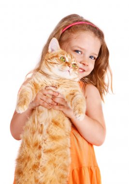 Little girl with a big red cat