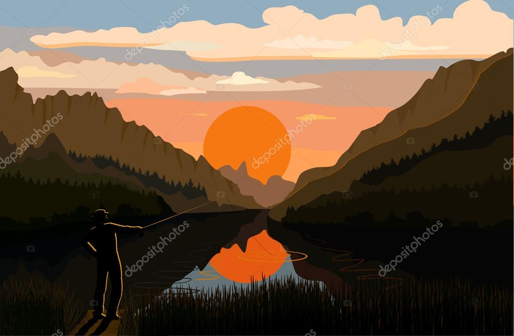 Fisherman in the mountain landscape