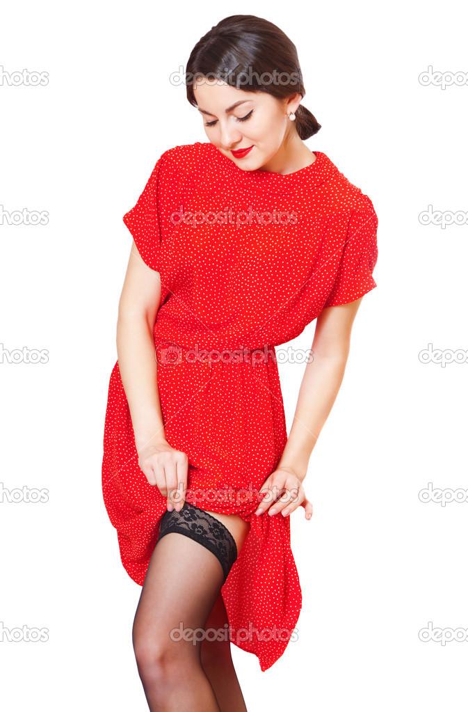 Девушка в красном платье и чулках фото 455-133