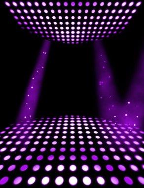 Dance floor disco poster background. Illuminated spotlights