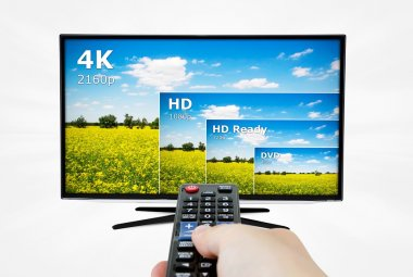 4K television display with comparison of resolutions. Remote con