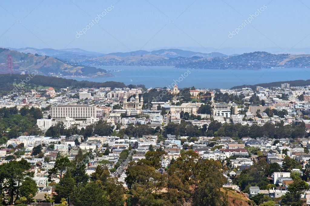 View of the city Sausalito and the Bay of San Francisco