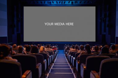 Empty cinema screen with audience. Ready for adding your picture. Screen has crisp borders. This shot was made using tripod with long exposure. stock vector
