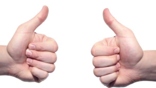 dva palce nahoru izolovaných na bílém pozadí