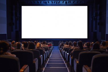 Empty cinema screen with full crowd audience.